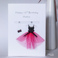 13th, 16th, 18th Birthday Card, Pink and black party dress, handmade