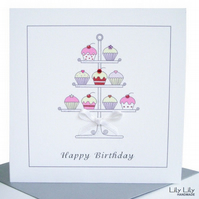 Handmade Birthday Card, Cake stand