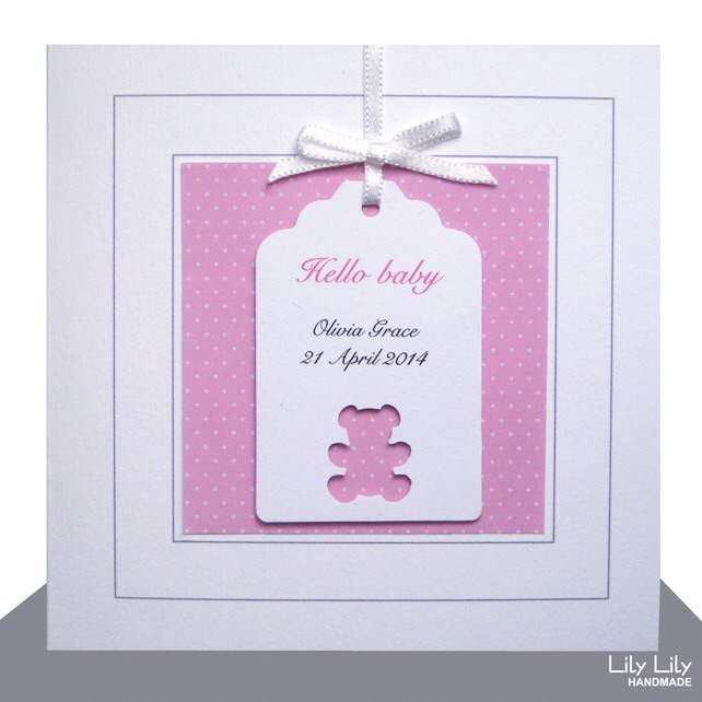 New Baby Girl Card - Personalised, Teddy Bear Design