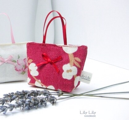 Red blossom Lavender Bag, Handmade scented bag - Free delivery