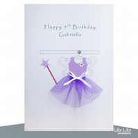 Purple Fairy Card, 3rd, 5th, 6th, 7th Birthday Card - Personalised