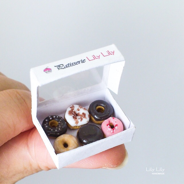 Handmade Miniature Doughnuts, 1:12 scale, miniature art - Free delivery