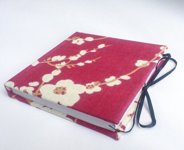 Notebook, Sketchbook, Journal, fabric covered, Red Cherry blossom- Free delivery