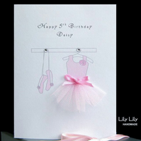 Ballerina Card, Personalised, by Lily Lily Handmade