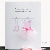 Congratulations Ballerina Card, Personalised, by Lily Lily Handmade