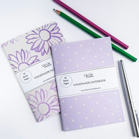 Two handmade pocket notebooks, polka dot & floral designs