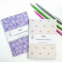 Two pocket notebooks, lace and floral designs, handmade