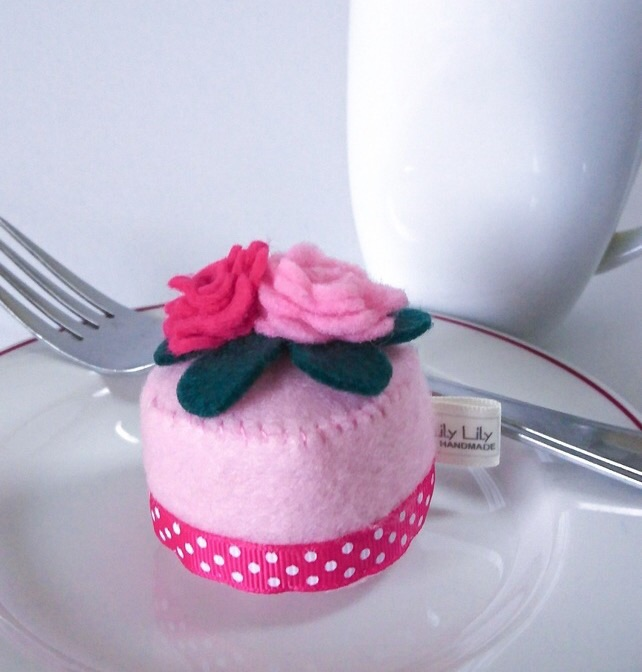 Felt Patisserie Cake pin cushion, pink sugar paste roses, free delivery
