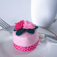 Felt Patisserie Cake, pink sugar paste roses, handmade pin cushion