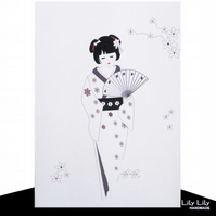 Blank Card - Japanese Geisha Design