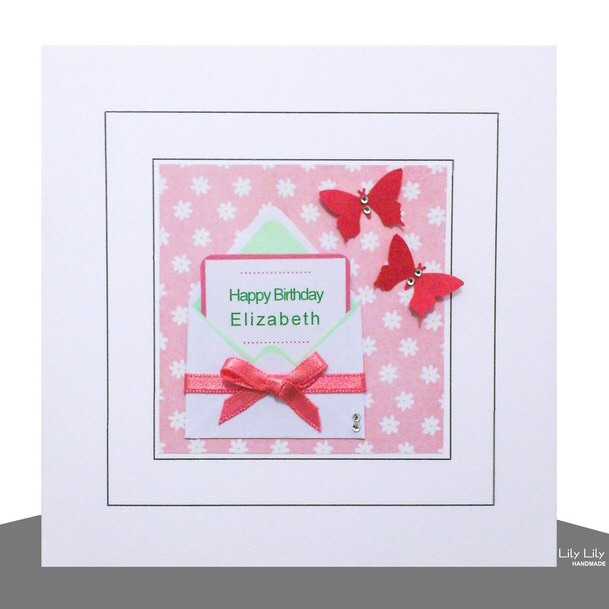 Birthday Card,  Mini Card Design, Handmade, Personalised, Pink and Green