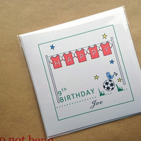 Personalised Name and Age Birthday Card , Football Shirts design