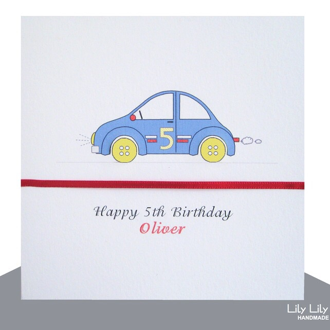 Boy's Personalised Birthday Card - Button car
