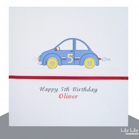 Boy's Personalised Name and Age Birthday Card - Button car