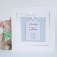 New Baby Boy Card - Personalised, Teddy Bear Design