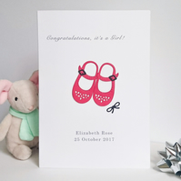 New Baby Girl Card, Red Baby Shoes Design, Handmade, Personalised