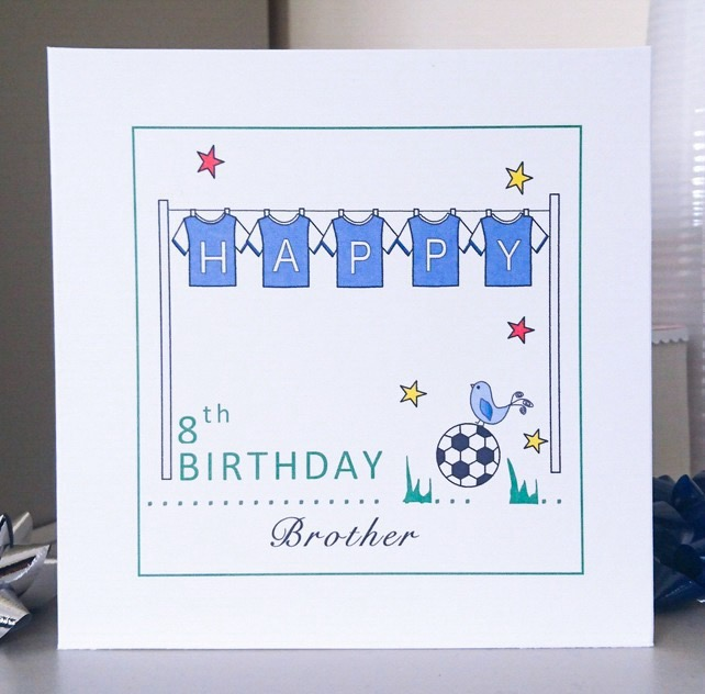 Personalised Birthday Card - Football Shirts (Blue)
