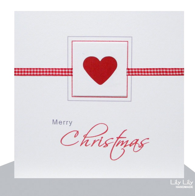 Handmade Christmas Card, Heart Design