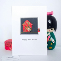 New Home Card, Japanese inspired design, handmade