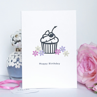 Birthday Card, Cupcake and flowers design, handmade