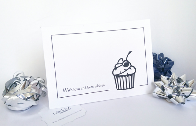 Any occasion, cupcake card, handmade