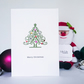 Christmas Card, Christmas tree with shiny jewel coloured baubles, handmade