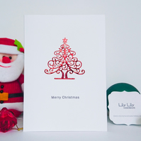 Christmas Card, shiny metallic Christmas tree with pearl baubles, handmade