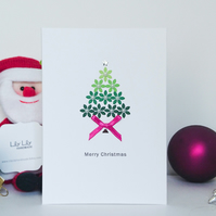 Christmas Card, Green Ombre Christmas tree with pearl baubles, handmade