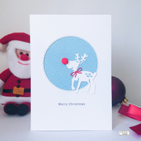 Christmas Card, Rudolph the Reindeer, handmade