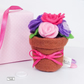 Felt Flower pot, handsewn keepsake, ornament, pin cushion - Free delivery