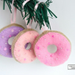Set of 3 hanging iced doughnut Christmas decorations, Free delivery