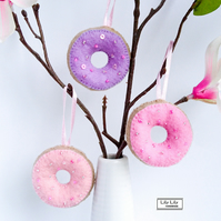 Set of 3 Iced Doughnut Hanging Decorations, Free delivery