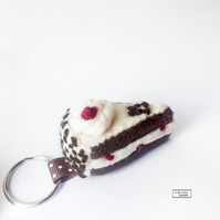 Keyring, key charm, bag charm - Black Forest gateau slice
