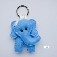 Handmade Elephant Keyring (Blue) - Free delivery