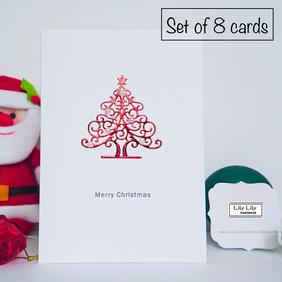 Set of 8 Christmas Cards, Red Shiny Christmas tree with classic pearl baubles