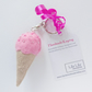 Handmade Ice Cream cone Keyring (Pink) Free delivery