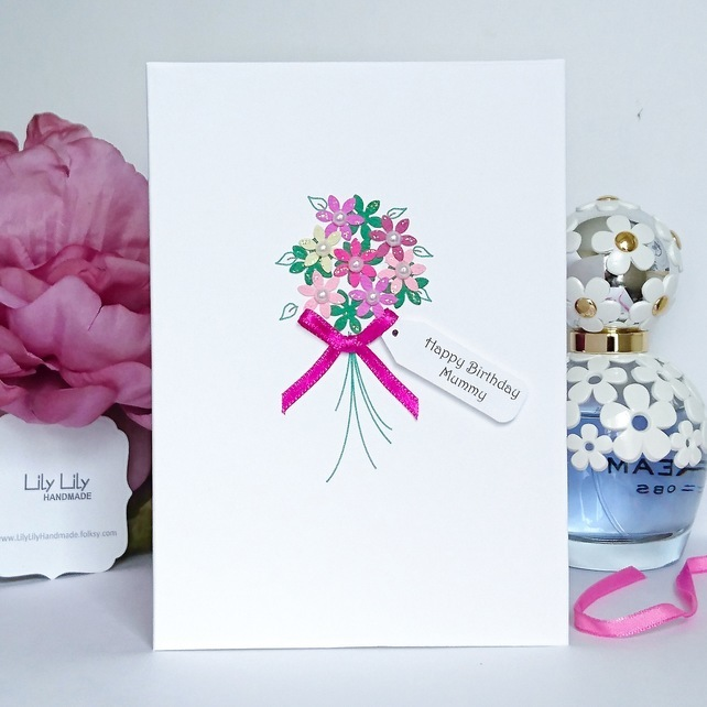 Personalised birthday card, Flower Bouquet Design