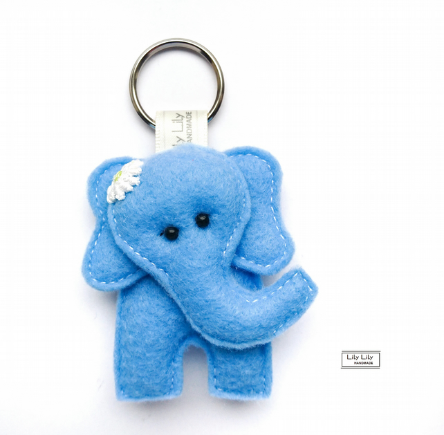 FLASH SALE- Cute blue handsewn Elephant Keyring