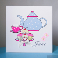 Personalised birthday card, Afternoon Tea design