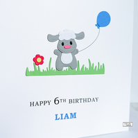 Personalised birthday card, Name and Age card, Little Lamb with blue balloon