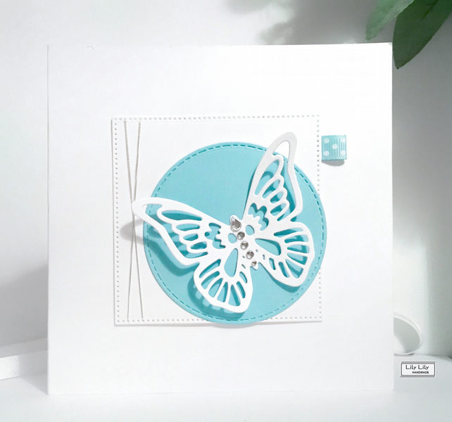 All Occasion Blank Card, Ice Blue Butterfly design