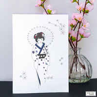 Handmade Blank Card - Japanese Geisha with Parasol Design