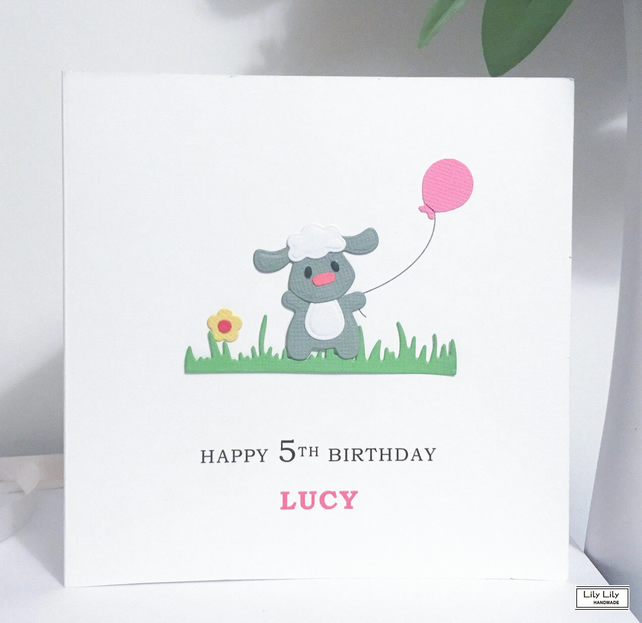 Personalised birthday card, Name and Age card, Little Lamb with Pink balloon