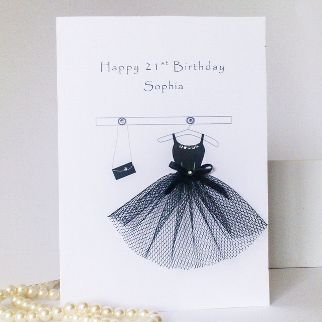 Personalised 18th, 21st, 30th, 50th Birthday Card, little black dress, handmade