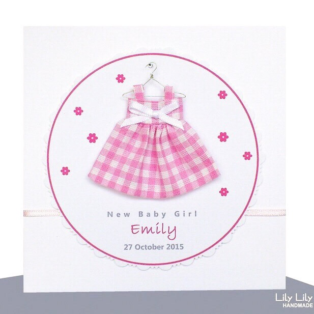 New Baby Girl Card,  Baby Dress Design, Handmade, Personalised