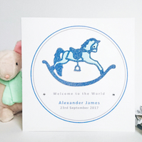 New Baby Boy Card - Personalised, Rocking Horse Design