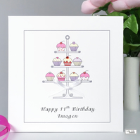 Personalised Birthday Card, Cake stand design, any name or age