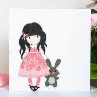 Blank card for all occasions, cute, girl with rabbit