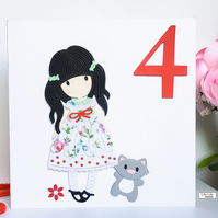 Age Birthday Card, cute, girl with cat