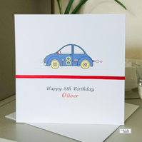 Racing Car Birthday Card - Personalised, Any Age or Name